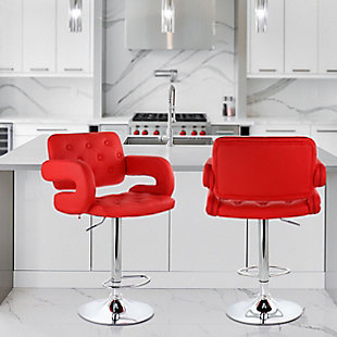 Elama Faux Leather Tufted Bar Stool with Chrome Base and Adjustable Height, Red, rollover
