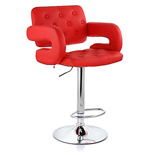 Elama Faux Leather Tufted Bar Stool with Chrome Base and Adjustable Height, Red, large