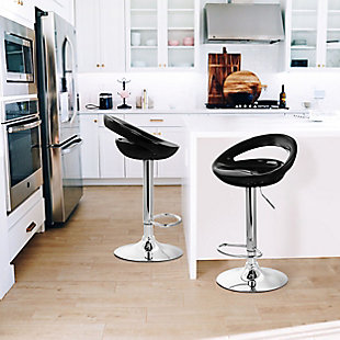 Elama Retro Bar Stool with Chrome Base and Adjustable Height – Set of 2, Black, rollover