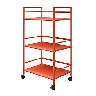 Novogratz Cache Metal Rolling Cart, Orange, large