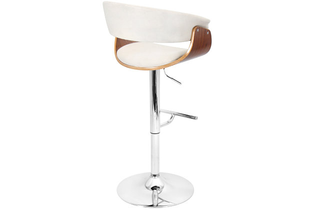 LumiSource Mod Adjustable Height Bar Stool with Swivel, Beige, large