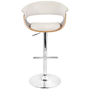 LumiSource Mod Adjustable Height Bar Stool with Swivel, Beige, rollover