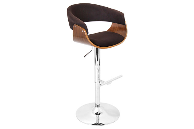 Verdana Adjustable Height Bar Stool with Swivel, Brown, large