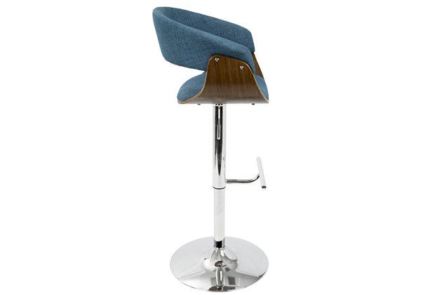 Verdana Adjustable Height Bar Stool with Swivel, Blue, large