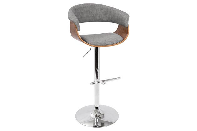 Verdana Adjustable Height Bar Stool with Swivel, Light Gray, large