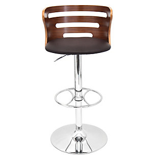 Cameron Adjustable Height Bar Stool with Swivel, Brown, rollover