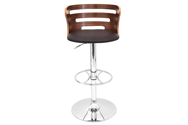 Cameron Adjustable Height Bar Stool with Swivel, Brown, large