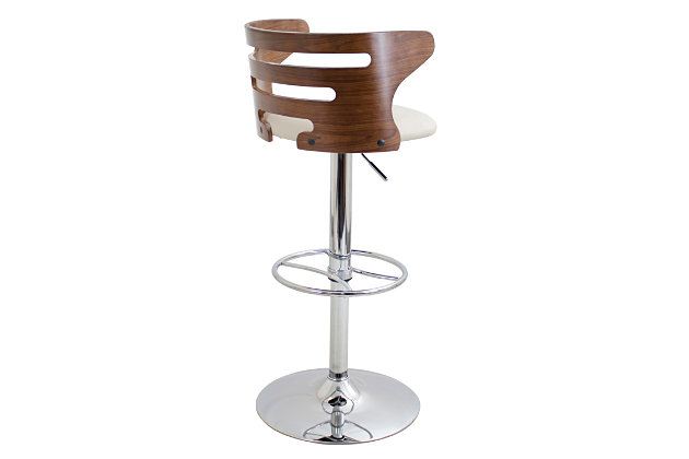 LumiSource Cosi Adjustable Height Bar Stool with Swivel, Beige, large