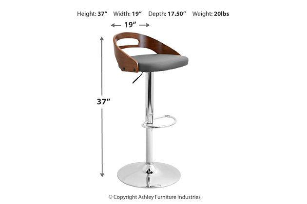 Cameron Adjustable Height Bar Stool with Swivel, , large