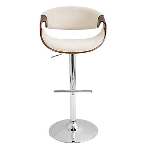 LumiSource Curvo Adjustable Height Bar Stool with Swivel, Beige, rollover