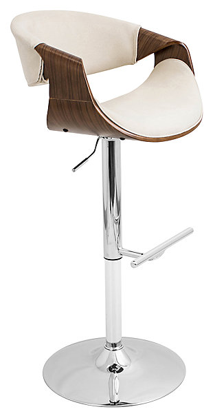 LumiSource Curvo Adjustable Height Bar Stool with Swivel, Beige, large