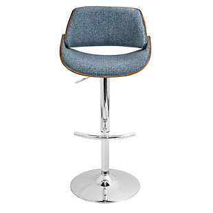 LumiSource Fabrizzi Adjustable Height Bar Stool with Swivel, Blue, rollover