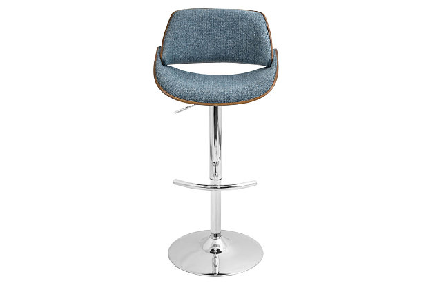 Tabitha Adjustable Height Bar Stool with Swivel, Blue, large