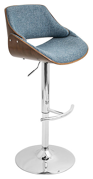 LumiSource Fabrizzi Adjustable Height Bar Stool with Swivel, Blue, large