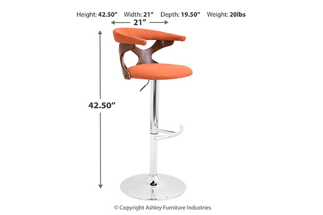 Louis Adjustable Height Bar Stool with Swivel, Orange, large