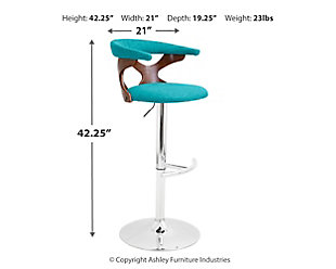 Louis Adjustable Height Bar Stool with Swivel, Blue, large