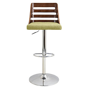 LumiSource Trevi Adjustable Height Bar Stool with Swivel, Green, rollover