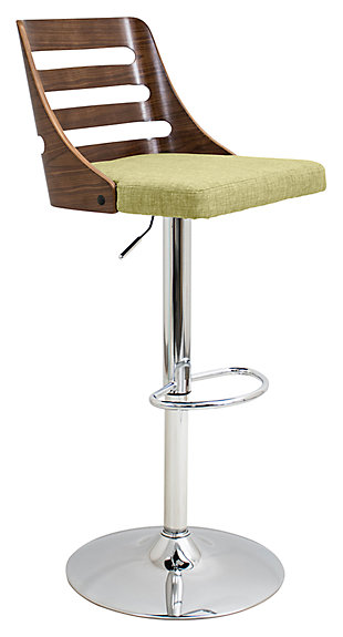 LumiSource Trevi Adjustable Height Bar Stool with Swivel, Green, large