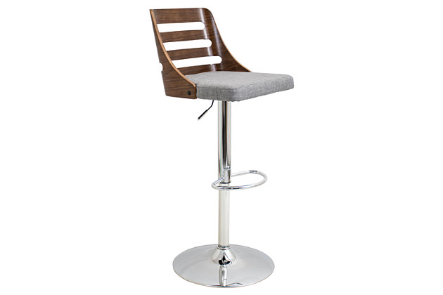 Trevi Adjustable Height Bar Stool with Swivel, Gray, large