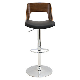 LumiSource Valencia Adjustable Height Bar Stool with Swivel, Black, rollover