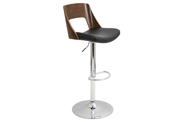 Trevi Adjustable Height Bar Stool with Swivel, Black, large