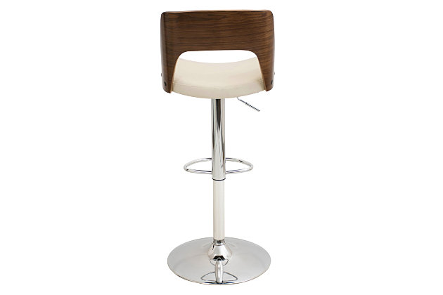 LumiSource Valencia Adjustable Height Bar Stool with Swivel, Beige, large