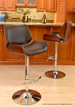 LumiSource Santi Adjustable Height Bar Stool with Swivel, Brown, rollover