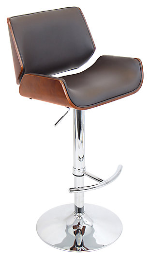 LumiSource Santi Adjustable Height Bar Stool with Swivel, Brown, large