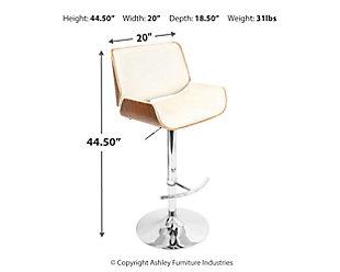 Skylar Adjustable Height Bar Stool with Swivel, Beige, large