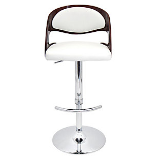 LumiSource Pino Adjustable Height Bar Stool with Swivel, White, rollover