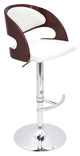 Skylar Adjustable Height Bar Stool with Swivel, White, large