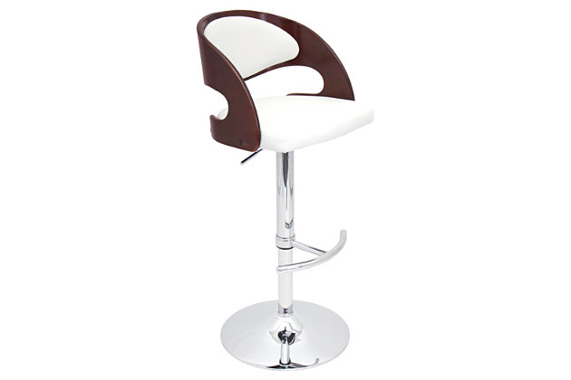 LumiSource Pino Adjustable Height Bar Stool with Swivel, White, large