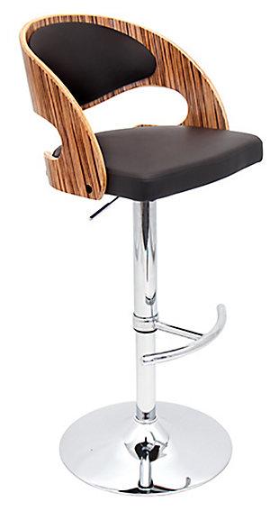 Skylar Adjustable Height Bar Stool with Swivel, Brown, large