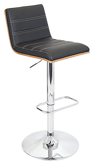 LumiSource Vasari Adjustable Height Bar Stool with Swivel, Black, large