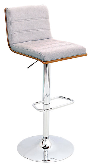 LumiSource Vasari Adjustable Height Bar Stool with Swivel, Gray, large