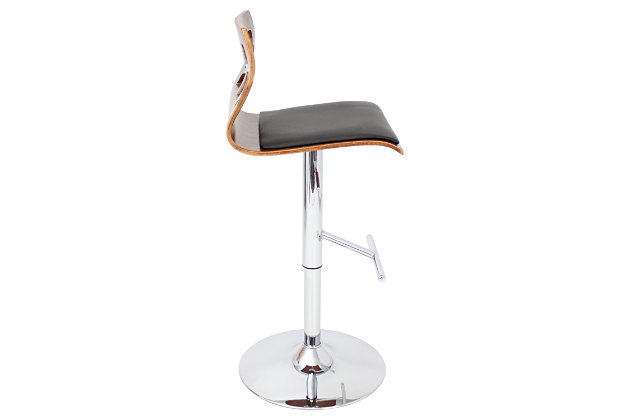 Felicia Adjustable Height Bar Stool with Swivel, Black, large
