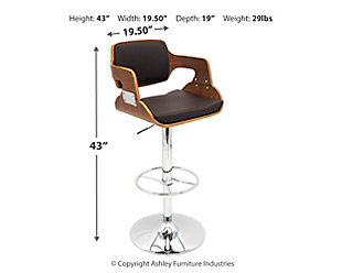 Felicia Adjustable Height Bar Stool with Swivel, , large