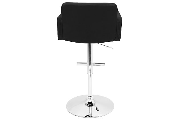 Stout Adjustable Height Bar Stool with Swivel, Black, large