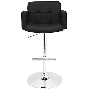 LumiSource Stout Adjustable Height Bar Stool with Swivel, Black, rollover