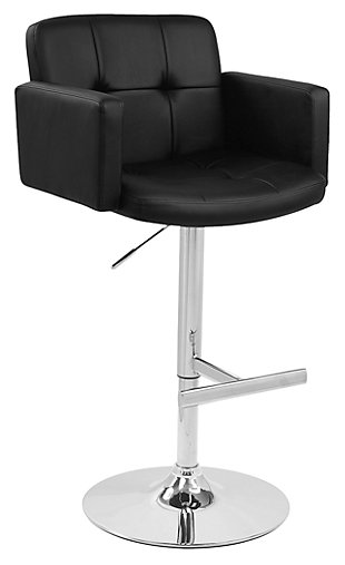 LumiSource Stout Adjustable Height Bar Stool with Swivel, Black, large