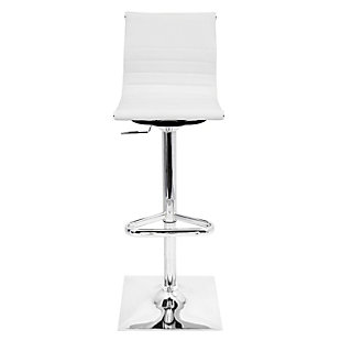 LumiSource Master Adjustable Height Bar Stool with Swivel, White, rollover