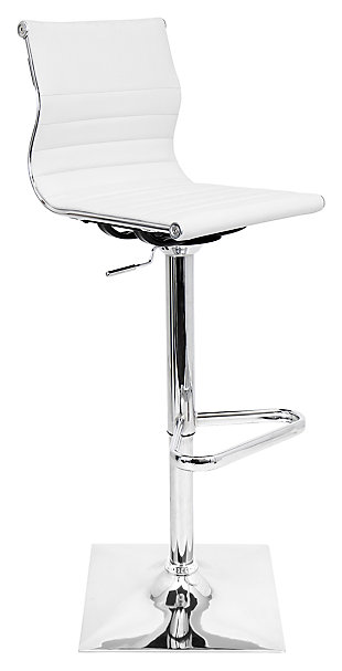 LumiSource Master Adjustable Height Bar Stool with Swivel, White, large