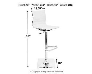 Master Adjustable Height Bar Stool with Swivel, White, large