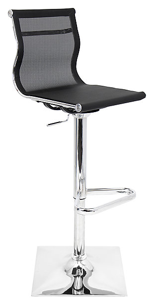 Mirage Adjustable Height Bar Stool with Swivel, Black, large