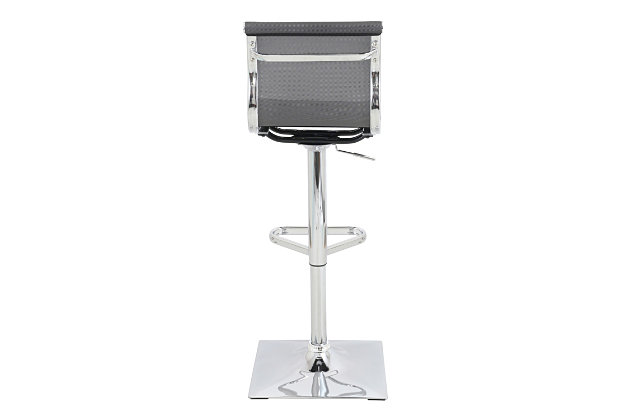 Mirage Adjustable Height Bar Stool with Swivel, Gray, large