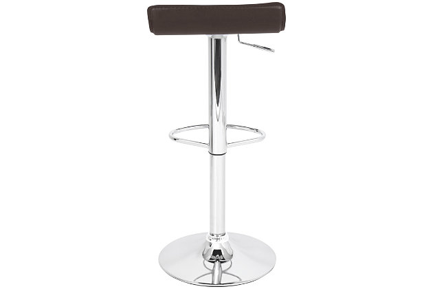 Ale Adjustable Height Bar Stool with Swivel, Brown, large