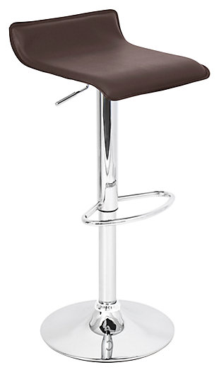 LumiSource Ale Adjustable Height Bar Stool with Swivel, Brown, large