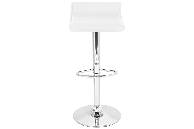 Ale Adjustable Height Bar Stool with Swivel, White, large