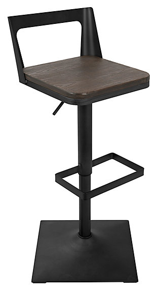 LumiSource Samurai Adjustable Height Industrial Bar Stool, , large