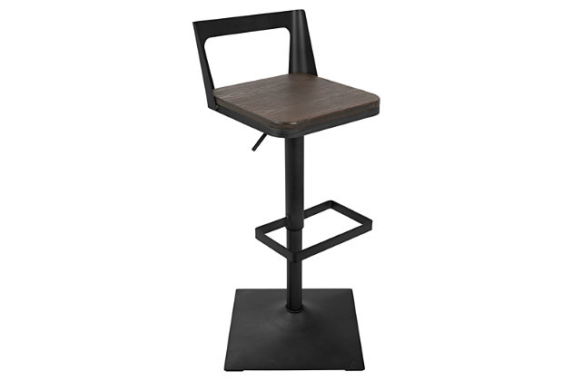 Howie Adjustable Height Industrial Bar Stool, , large
